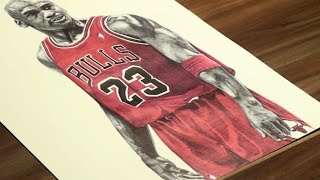 Pen Drawing Of Michael Jordan - Chicago Bulls - Freehand Art