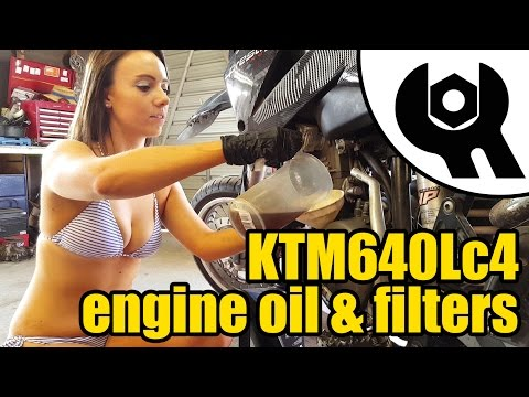 2006 KTM 640 Lc4 engine oil & filters replacement ft. Tool Girl Harley #1829
