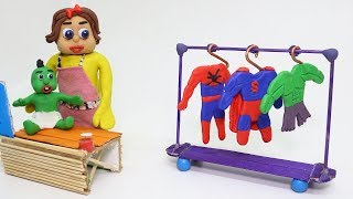 PLAY DOH SUPERHERO BABY BEDTIME COSTUME - Animation Stop Motion Cartoons