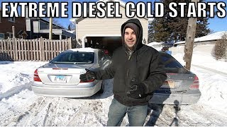 Here's How Bad My Turbo Diesel Mercedes Starts In -15 Degree Air & -40 Wind Chill. Sounds Horrible