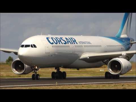Corsair Airbus 330  landing Mayotte airport.