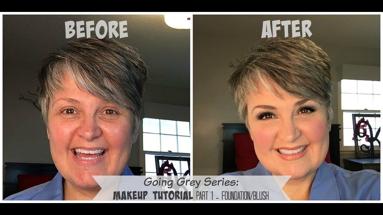 Going Grey Series Part 1 Makeup Tutorial Foundation Blush Youtube