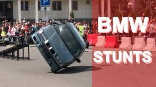 БМВ на двух колёсах, на мотоцикле на одном колесе BMW stunts