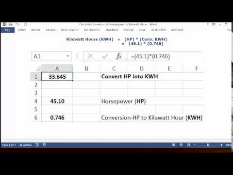 Conversion of Horsepower HP to Kilowatt Hours KWH