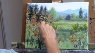 """Yellow Broom Spring"" Part 2 - Acrylic Country Landscape and Barn Painting Demo"