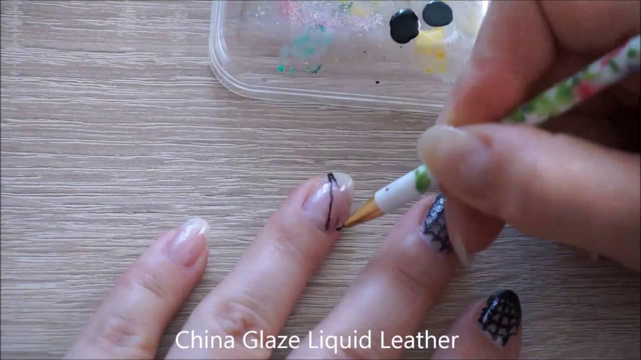Simple Halloween nail art idea - spider web nail art - YouTube