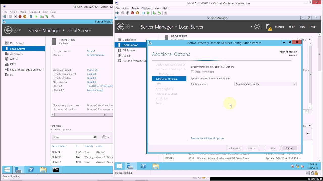 Adding an additional Domain Controller to an existing domain in Windows  Server 2012 R2