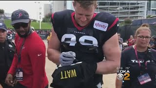 'Wrong Brother!': J.J. Watt Jokes With Fan Asking Him To Sign Steelers Jersey