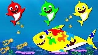 Baby Shark Dance | Colorful Flying Shark | Learn colors with shark | shark song