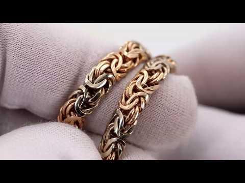 EliteGold - цепь плетения византия, плоская (овальная), в двух цветах золота 60 см 50 грамм