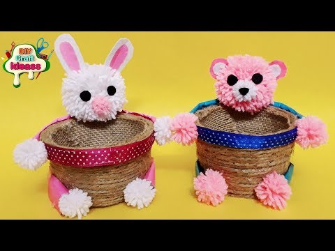 How To Make Beautiful Crafts    Cups Jute Rope Organizer   Bunny And Teddy Baskets Organiser Idea