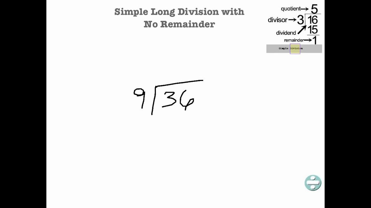 worksheet Division No Remainders simple long division with no remainder youtube
