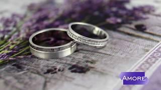 Свадебные кольца из белого золота с бриллиантами и матовой фактурой