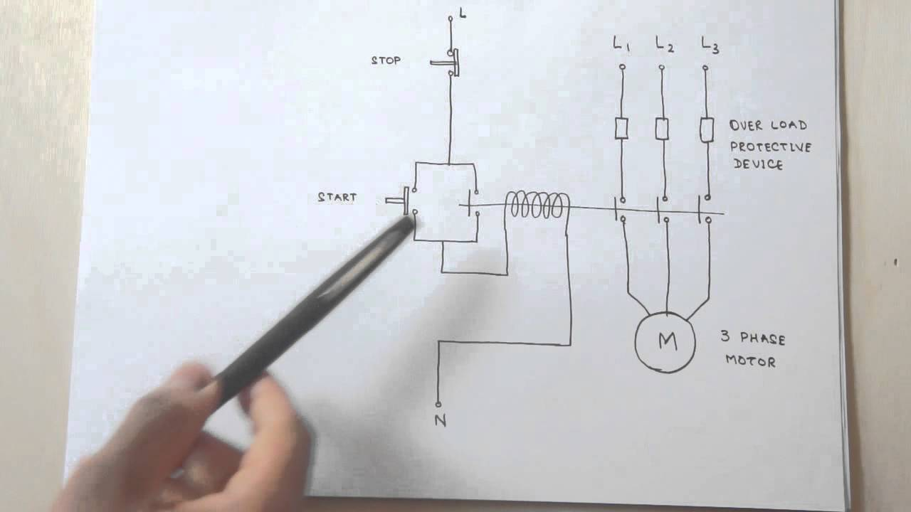 how a 3 phase motor control circuit works youtube rh youtube com 3 phase 6 wire motor wiring diagram 460 3 phase wiring diagram [ 1280 x 720 Pixel ]