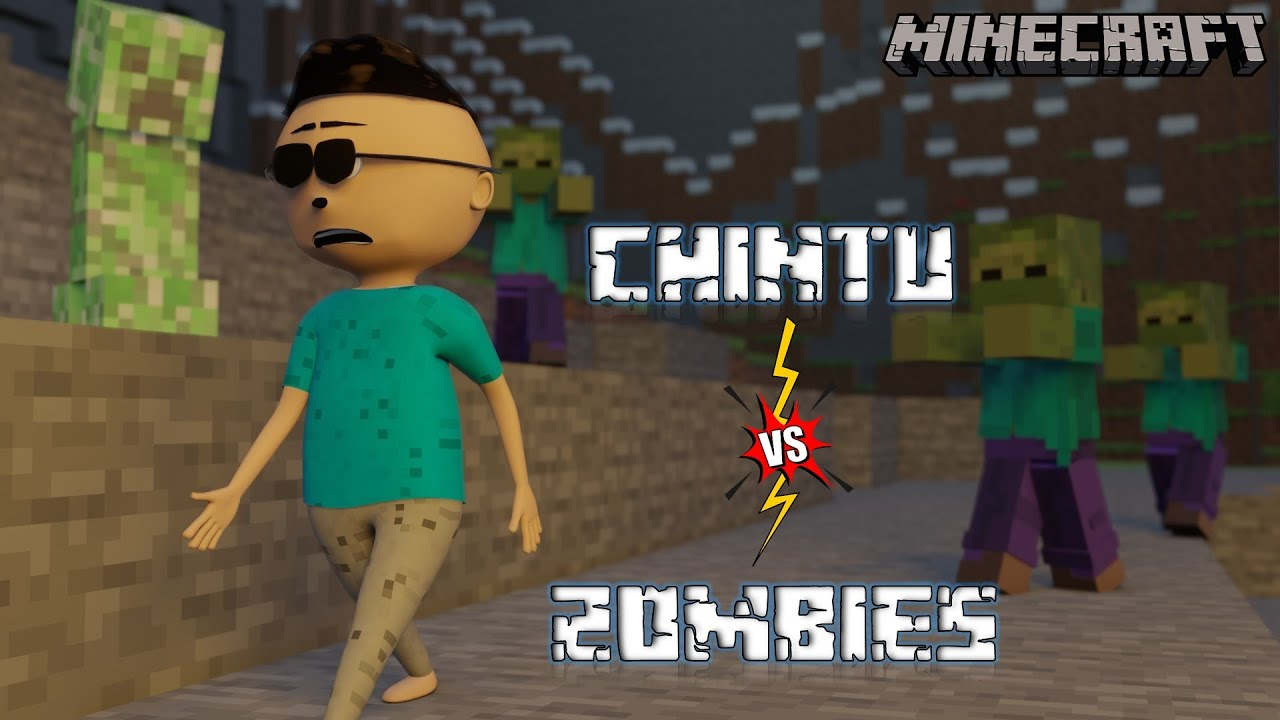 CHINTU VS ZOMBIES | Chintu In Minecraft #1 | LET'S SMILE | Minecraft Gaming Animation