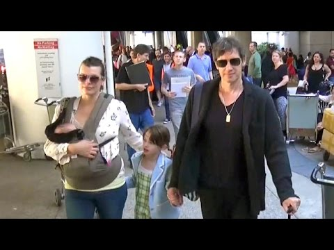 Milla Jovovich, Paul W.S. Anderson And Their Children Return Home From Rome