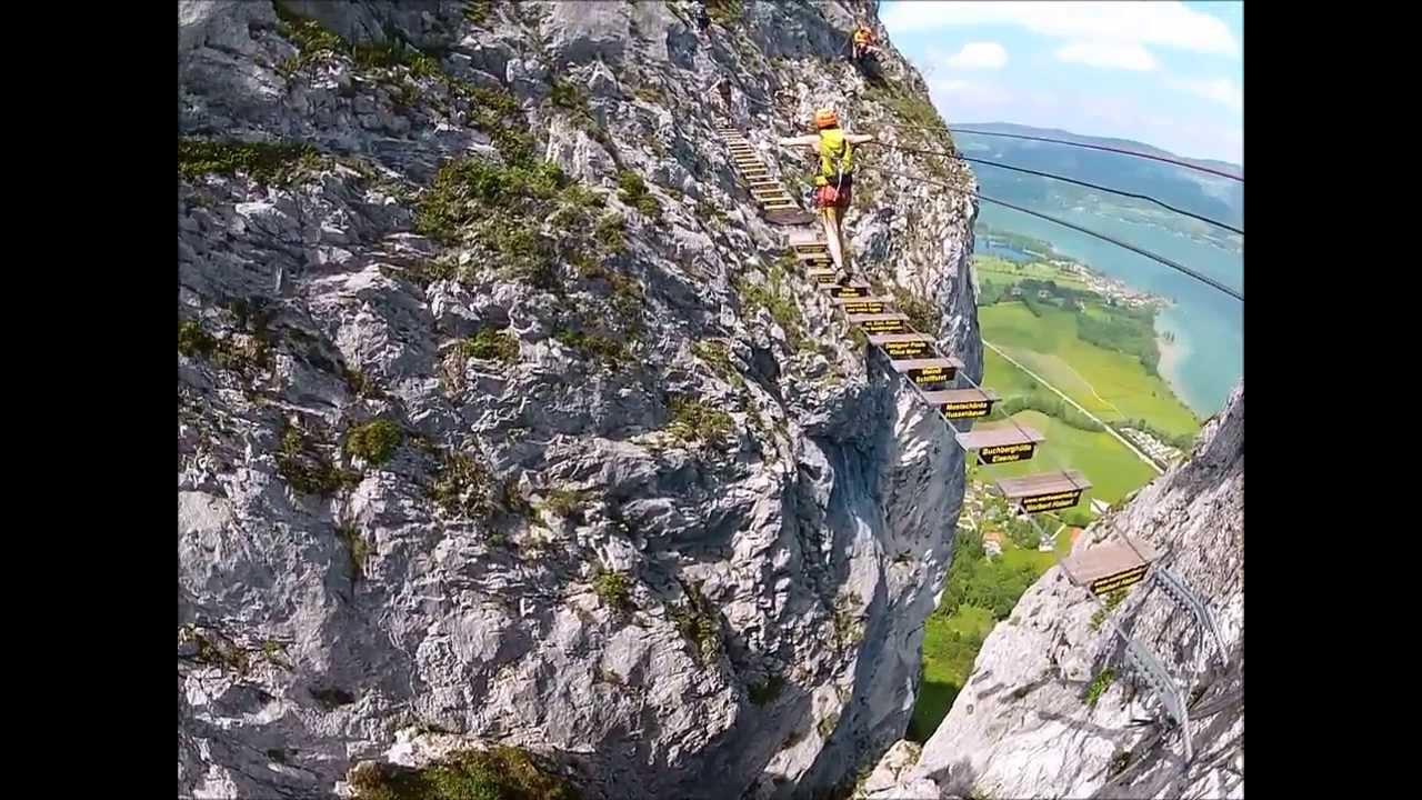 Klettersteig Mondsee : Klettersteig drachenwand am mondsee youtube