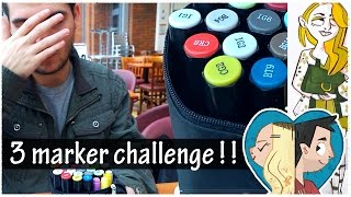 One of Doodle Date's most viewed videos: 3 MARKER CHALLENGE IN A CAFE | Doodle Date