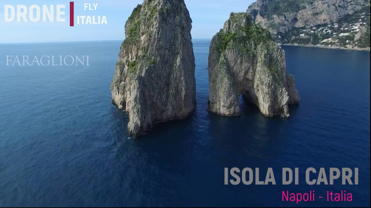 The beautiful Isle of Capri observed by a drone...