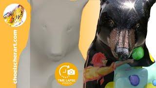 Time Lapse Painting - City Art Project - Fiberglass Bear Statue   I...