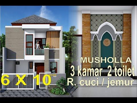 Rumah Minimalis 6x10 Meter 3 Kamar Tidur Musholla 2 Toilet Ruang Cuci Jemur Youtube