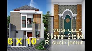 Gambar cover trend rumah masa kini minimalis 6x8.5 di lahan 6x10 meter 3 kamar 2 toilet musholla area cuci jemur