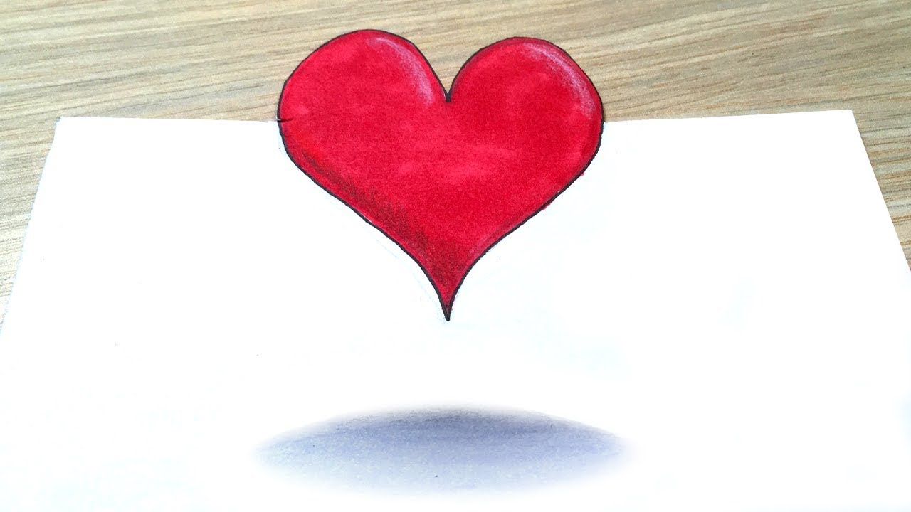 Heart Drawing how to draw cute heart, 3d trick art heart drawing