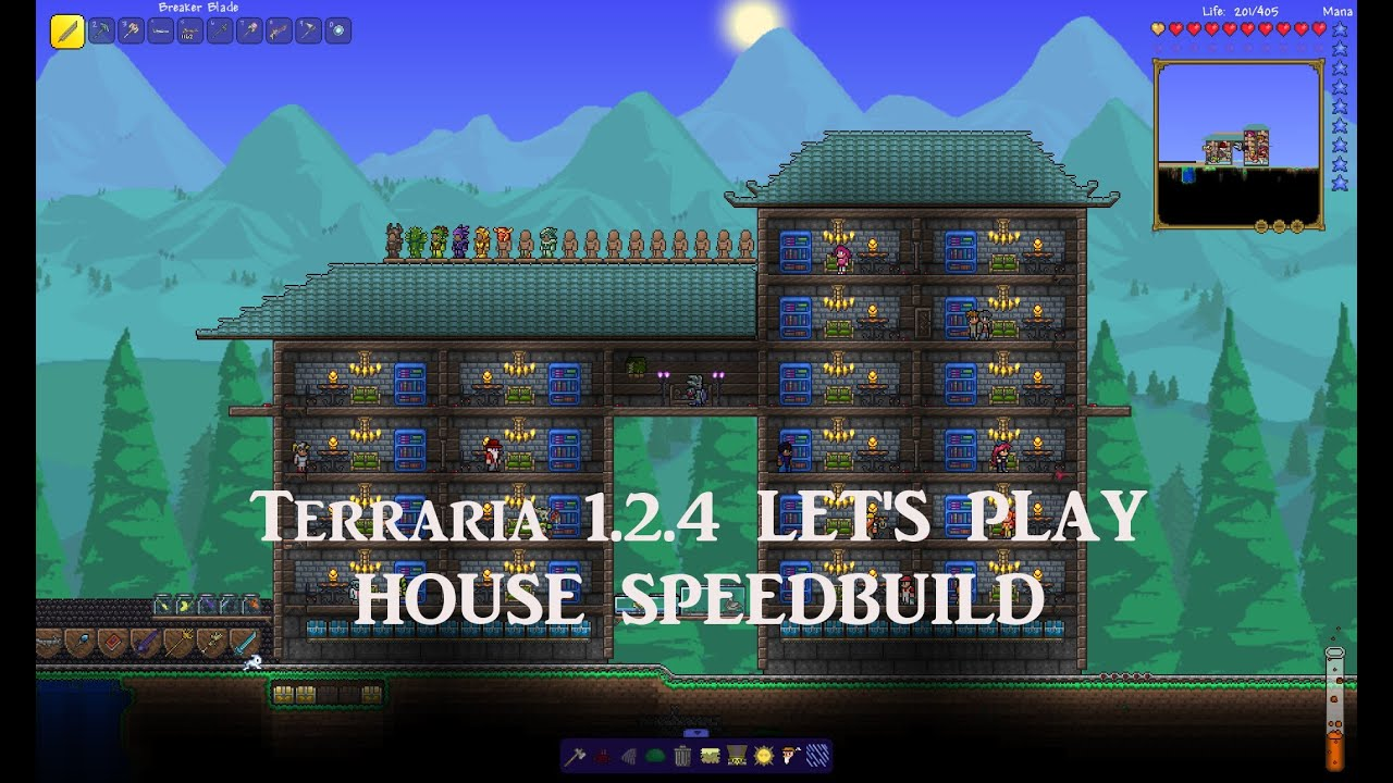 Terraria 1 2 4 let 39 splay epic house speedbuild mini for Epic house designs