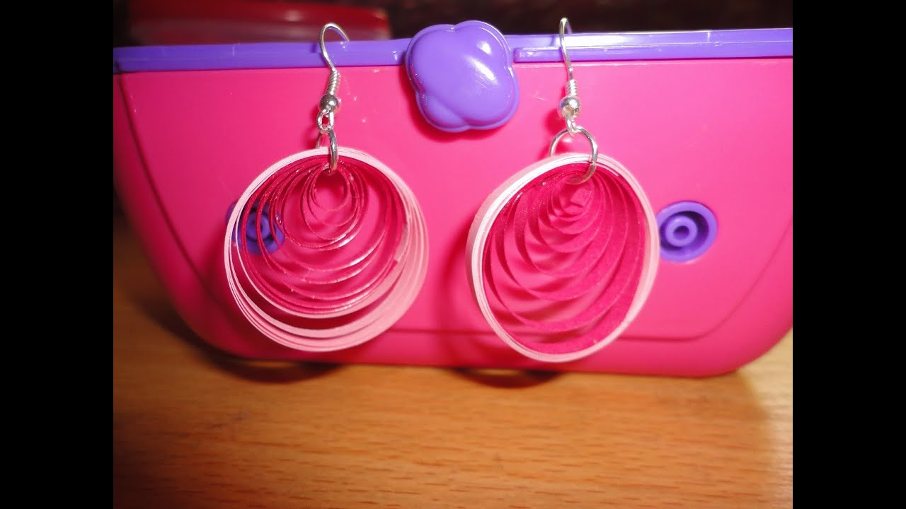 Papercraft How To Make Paper Quilling Earrings - Pink