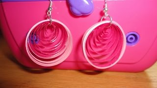 How To Make Paper Quilling Earrings - Pink