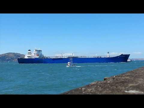 Crude Oil Tanker Ship Polar Adventure entering San Francisco Bay.  June 10, 2017.