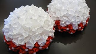 Банты и бантики из атласных лент 2 Канзаши / Ribbon Hair Bow / Kanzashi DIY