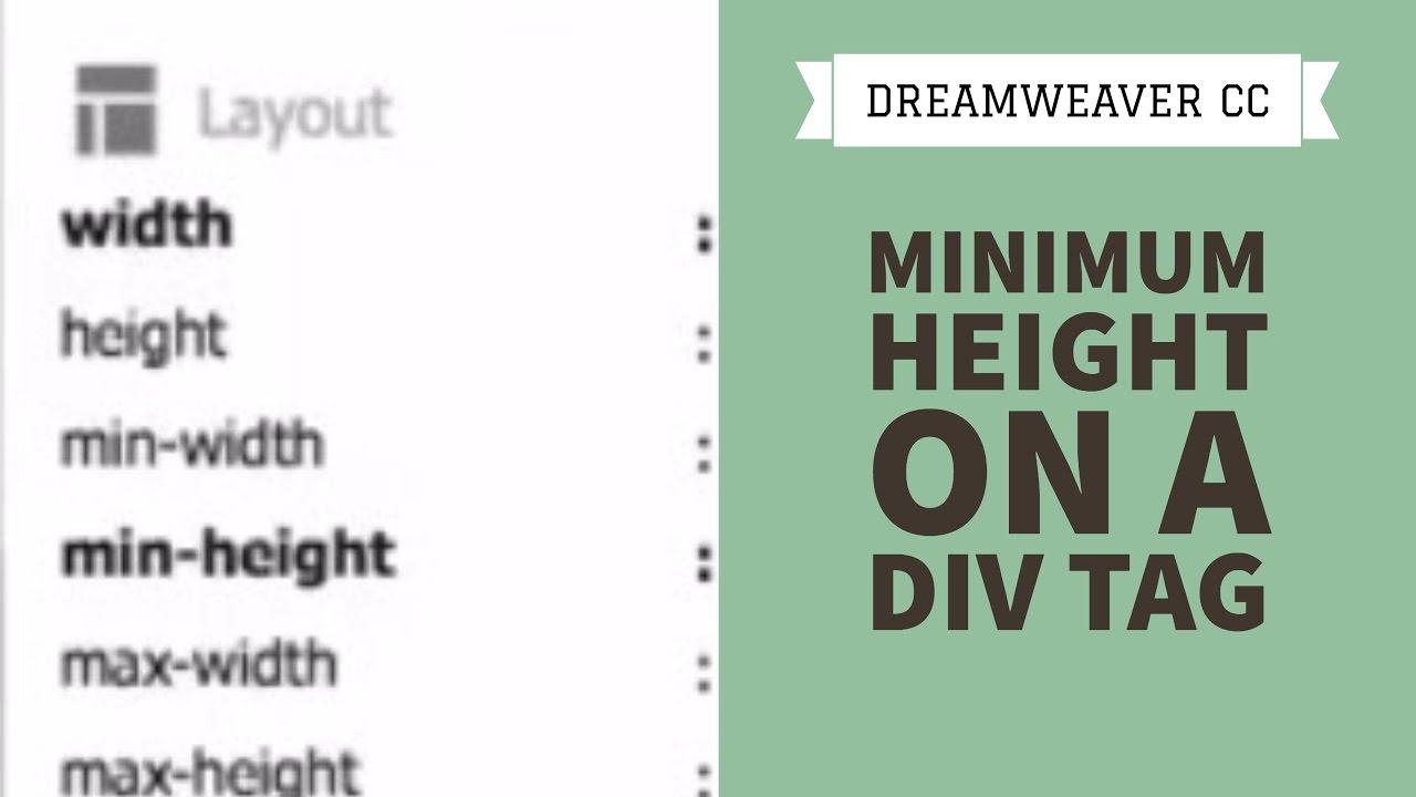 Minimum height on a div tag - Dreamweaver CC Tutorial [29/34]