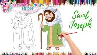 How To Draw Saint Joseph With Color Step By Step    Drawing & Coloring School