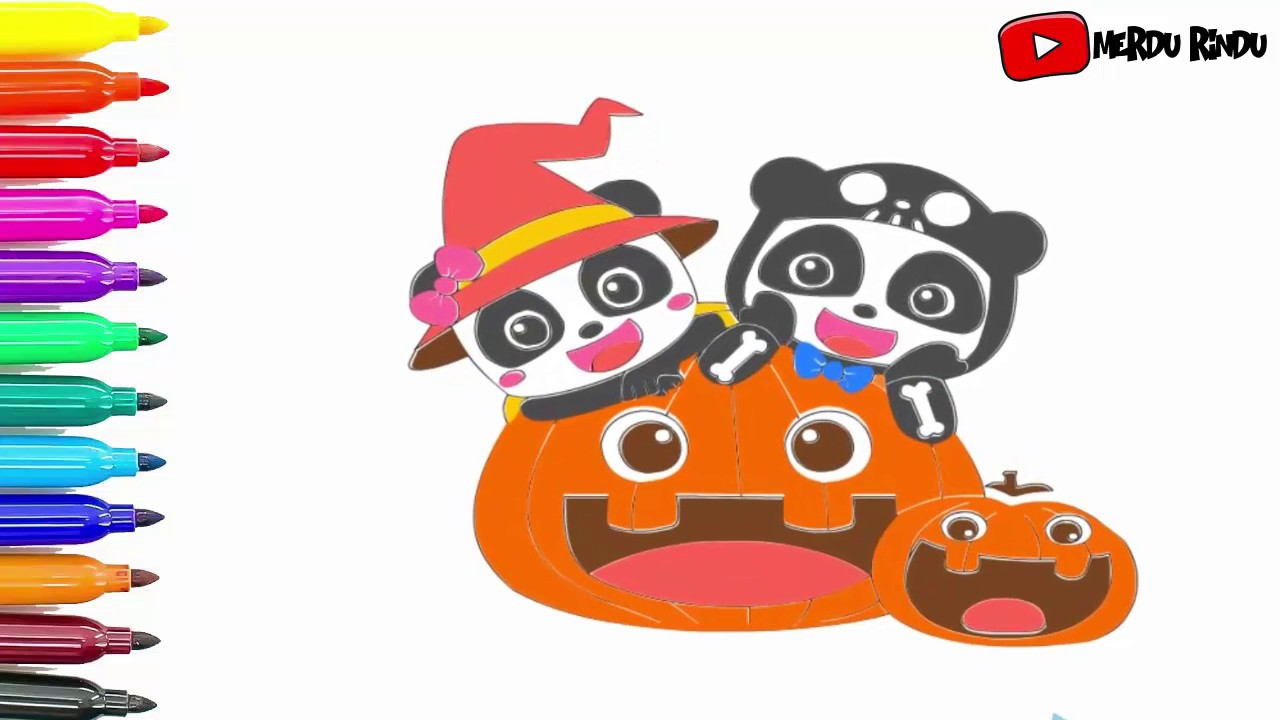 Babybus Halloween Coloring Pages Drawing For Kids Youtube