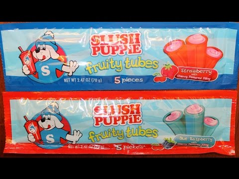Slush Puppie Fruity Tubes: Strawberry & Blue Raspberry with Cherry Filling Review
