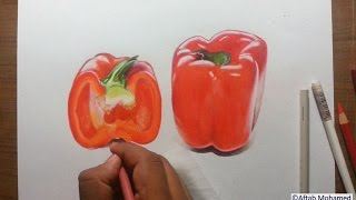 Drawing Capsicum - fruit series #3- prismacolor colored pencils!