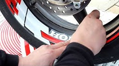 Instructions for installing kit reflective decals FIRE on the rim of the disc motorcycle Honda