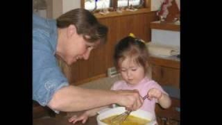 Charlotte Making Easter Scalloped Corn