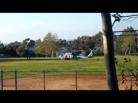SH-60 Seahawk Helicopter taking off in my park