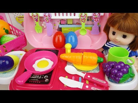 Thumbnail: Baby doll Kitchen cart cooking toys baby doli play