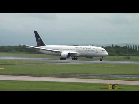 Saudi Arabia Airlines Dreamliner Take off Manchester 10/06/17