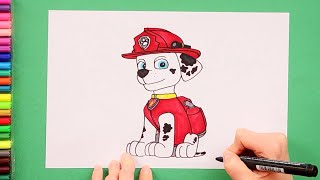 How to draw Marshall - Paw Patrol Characters
