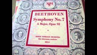 Beethoven Symphony no 7 vinyl around 1953 Otto Ackermann Zurich Tonhalle Orchester Orchestra