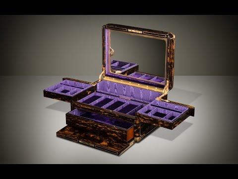 Daniellucian.com - Antique Jewellery Box in Coromandel with Cantilever Mechanism