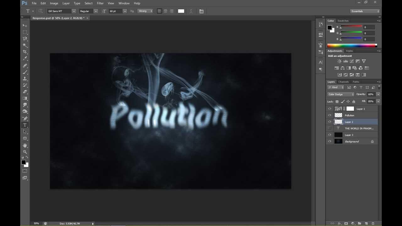 Adobe photoshop cs6 smoke typography tutorial youtube baditri Images