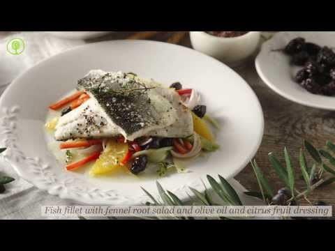 Fish fillet with fennel root salad and olive oil and citrus fruit dressing