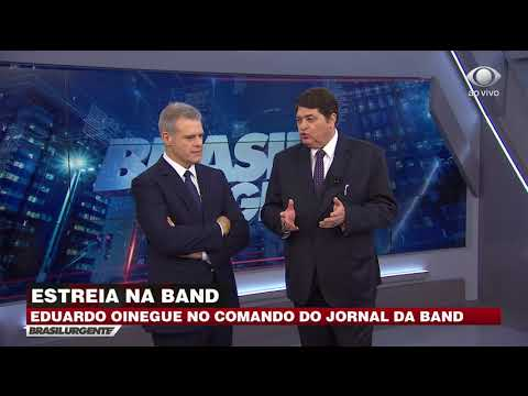 Eduardo Oinegue no comando do Jornal da Band
