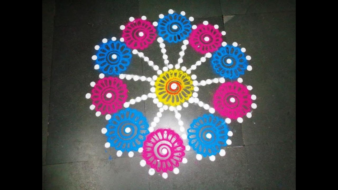 how to make beautiful flowers in easy rangoli design ...