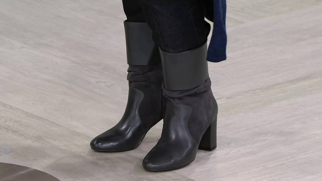 e2133fcd067c C. Wonder Leather and Suede Mid-Calf Slouch Boots - Amanda on QVC ...